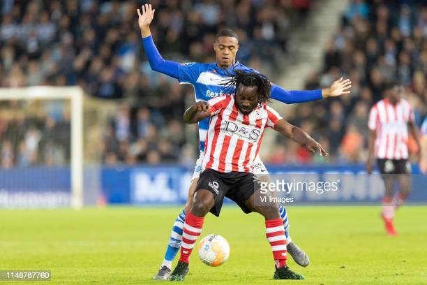 Delano Burgzorg of De Graafschap Fankaty Dabo of Sparta Rotterdam during the Dutch Keuken Kampioen Divisie play off final second leg match between De...
