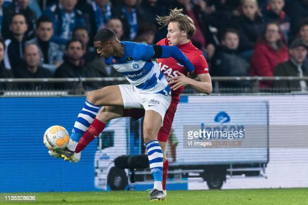Delano Burgzorg of De Graafschap Jonas Svensson of AZ during the Dutch Eredivisie match between De Graafschap Doetinchem and AZ Alkmaar at De...