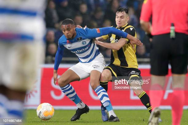 Delano Burgzorg of De Graafschap Matus Bero of Vitesse during the Dutch Eredivisie match between De Graafschap v Vitesse at the De Vijverberg on...