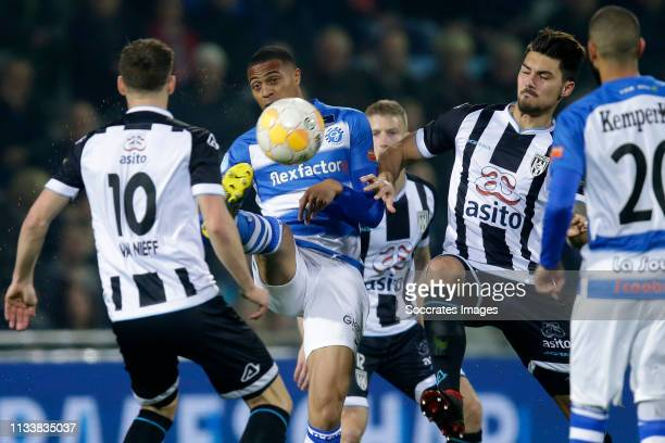 Delano Burgzorg of De Graafschap Maximilian Rossmann of Heracles Almelo during the Dutch Eredivisie match between De Graafschap v Heracles Almelo at...