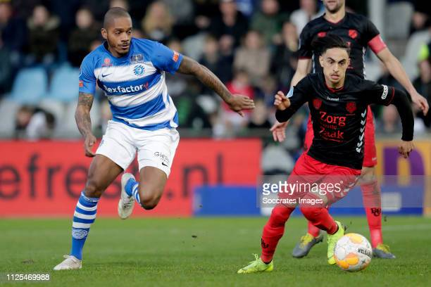 Delano Burgzorg of De Graafschap Othmane Boussaid of FC Utrecht during the Dutch Eredivisie match between De Graafschap v FC Utrecht at the De...