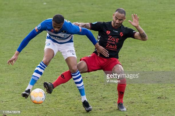 Delano Burgzorg of De Graafschap Sean Klaiber of FC Utrecht during the Dutch Eredivisie match between De Graafschap Doetinchem and FC Utrecht at De...