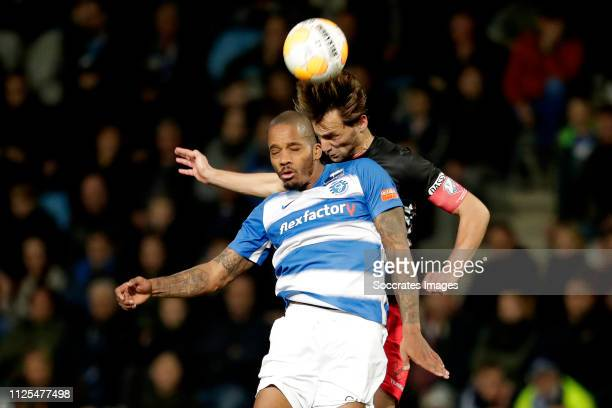 Delano Burgzorg of De Graafschap Willem Janssen of FC Utrecht during the Dutch Eredivisie match between De Graafschap v FC Utrecht at the De...