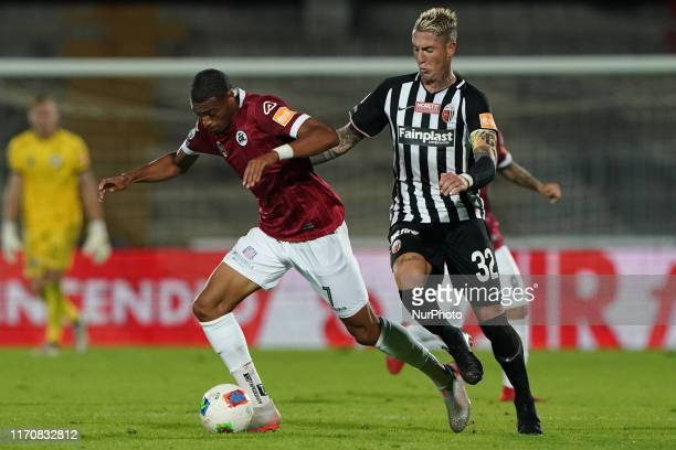 Delano Burgzorg of Spezia Calcio 1906 and Matteo Ardemagni of Ascoli Calcio 1898 FC during the Italian Serie B 2019/2020 match between Ascoli Calcio...