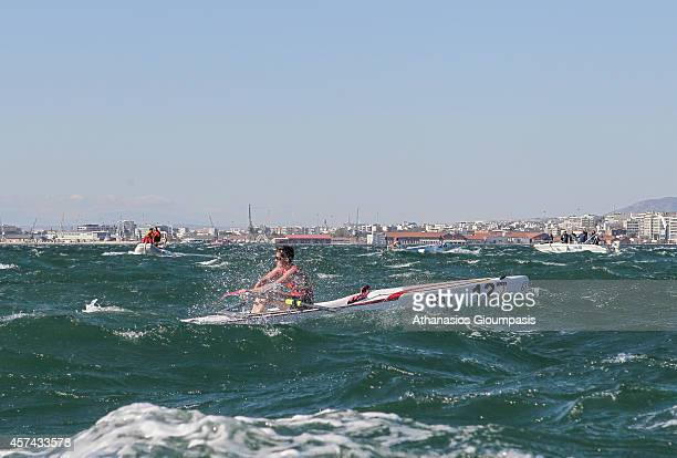 Delas Caroline in the Coastal Women's Single Sculls Final Race during the 2014 World Rowing Coastal Championship at Aegean Sea off the east coast of...
