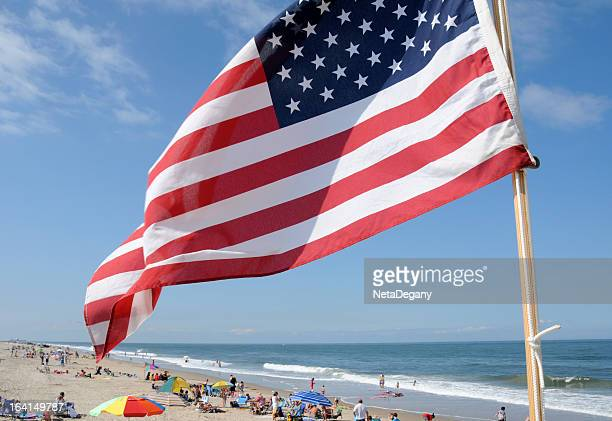 Delaware Beach and US Flag