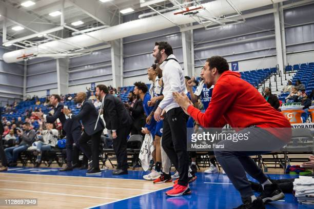 Delaware Blue Coats celebrate during a game against Fort Wayne Mad Ants during an NBA GLeague game on March 4 2019 at 76ers Fieldhouse in Wilmington...