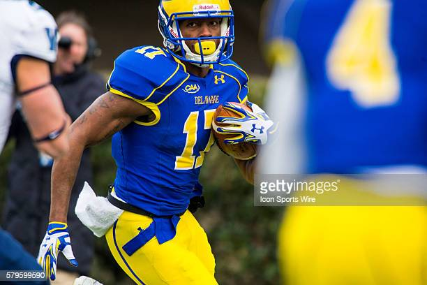 Delaware Fightin Blue Hens wide receiver Michael Johnson searched for a clear path during the game between the Vilanova Wildcats and the Delaware...
