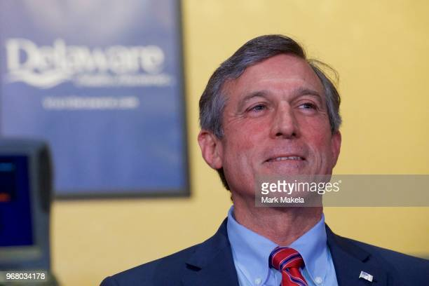 Delaware Governor John Carney prepares to address the media before placing the first bet at Dover Downs Casino on June 5, 2018 in Dover, Delaware....