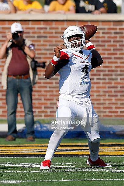 Delaware State Hornets quarterback Kobie Lain throws a pass during the first half of a NCAA football game against the Missouri Tigers on Faurot Field...