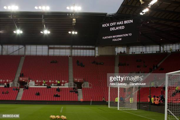 Delay to Kickoff due to power outage before the Premier League match between Stoke City and West Ham United at Bet365 Stadium on December 16 2017 in...