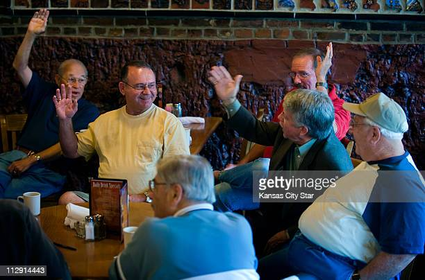 Delbert Bodenhamer from left Jim Seigfreid Gene Lang Rich Lawson and Jack Landers all members of the Rusty Zipper Club gather at Heroes Restaurant in...