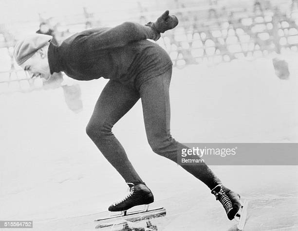 Delbert Lamb of Milwaukee, Wisconsin is shown skating in the 500 meter event in the Olympic trials at Minneapolis. He won with :44.8, taking a place...
