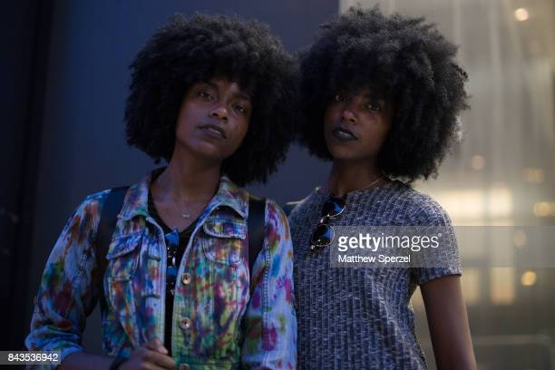Delcia Alia Johnson are seen attending VFILES during New York Fashion Week wearing a multicolored denim jacket with green dress and grey dress on...