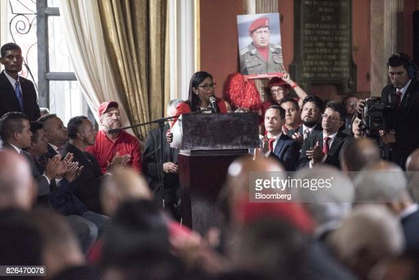Delcy Rodriguez center speaks while accepting her new post as President of the Constituent Assembly in Caracas Venezuela on Friday Aug 4 2017...