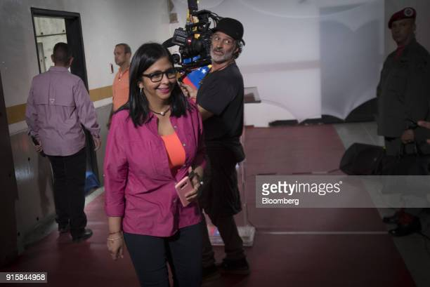 Delcy Rodriguez president of the Constituent Assembly arrives to a rally in Caracas Venezuela on Wednesday Feb 7 2018 President Nicolas Maduro and...