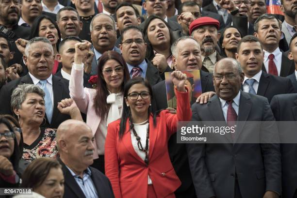Delcy Rodriguez president of the Constituent Assembly center and Aristobulo Isturiz first vice president of the Constituent Assembly right stand with...