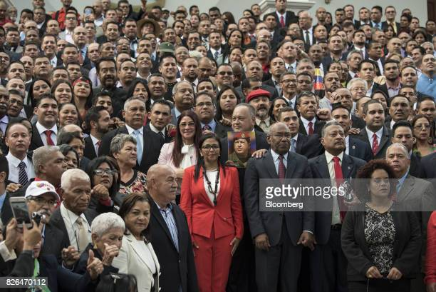 Delcy Rodriguez president of the Constituent Assembly center left and Aristobulo Isturiz first vice president of the Constituent Assembly center...