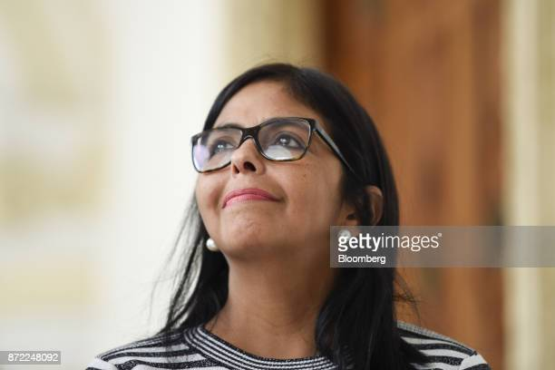 Delcy Rodriguez president of the Constituent Assembly smiles during a press conference at the Yellow House in Caracas Venezuela on Thursday Nov 9...
