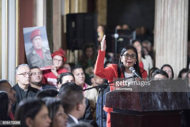 Delcy Rodriguez right speaks while accepting her new post as President of the Constituent Assembly in Caracas Venezuela on Friday Aug 4 2017...