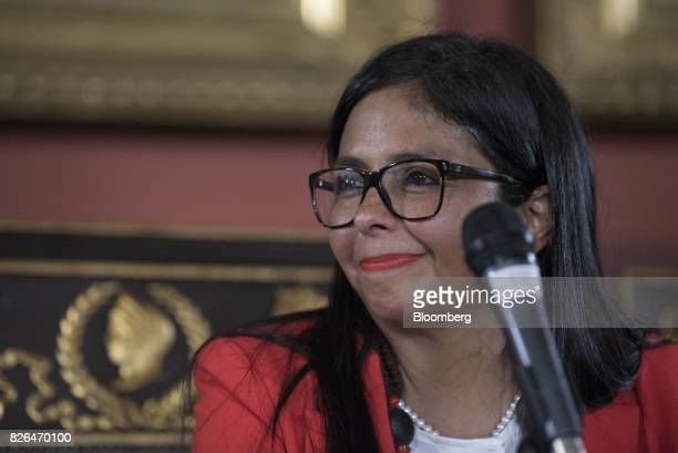 Delcy Rodriguez smiles while accepting her new post as President of the Constituent Assembly in Caracas Venezuela on Friday Aug 4 2017 Venezuela's...