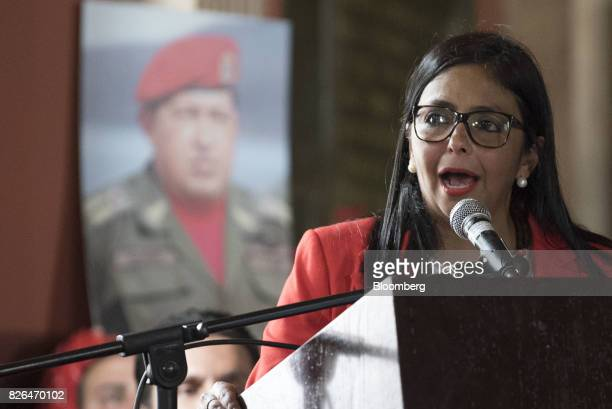 Delcy Rodriguez speaks while accepting her new post as President of the Constituent Assembly in Caracas Venezuela on Friday Aug 4 2017 Venezuela's...