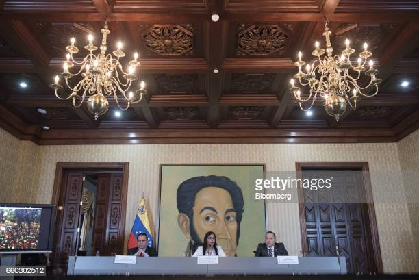 Delcy Rodriguez, Venezuela's minister of foreign affairs, center, speaks during a press conference in Caracas, Venezuela, on Wednesday, March 29,...