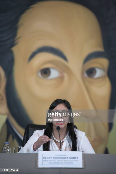 Delcy Rodriguez, Venezuela's minister of foreign affairs, speaks during a press conference in Caracas, Venezuela, on Wednesday, March 29, 2017. The...
