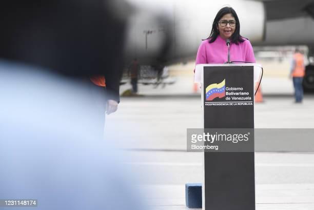Delcy Rodriguez, Venezuela's vice president, speaks during a press conference as Russian Sputnik V Covid-19 vaccines arrive at Simon Bolivar...