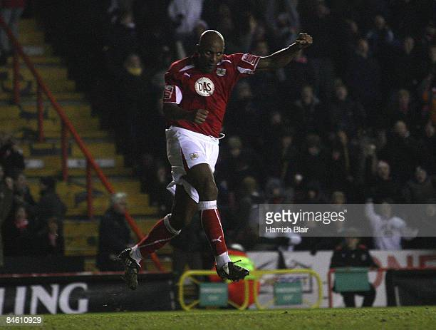 Dele Adebola of Bristol celebrates his and Briistol's first goal during the CocaCola Championship match between Bristol City and Charlton Athletic at...