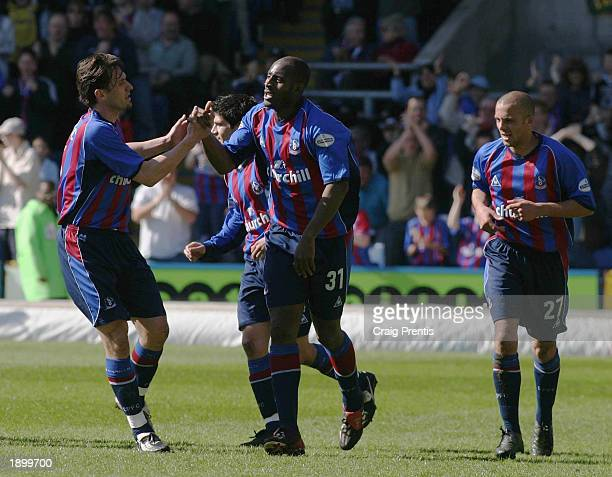 Dele Adebola of Crystal Palace celebrates scoring their first goal during the Nationwide League Division One match between Crystal Palace and...