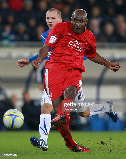 Dele Adebola of Nottingham Forest in action during the npower Championship match between Cardiff City and Nottingham Forest at Cardiff City Stadium...
