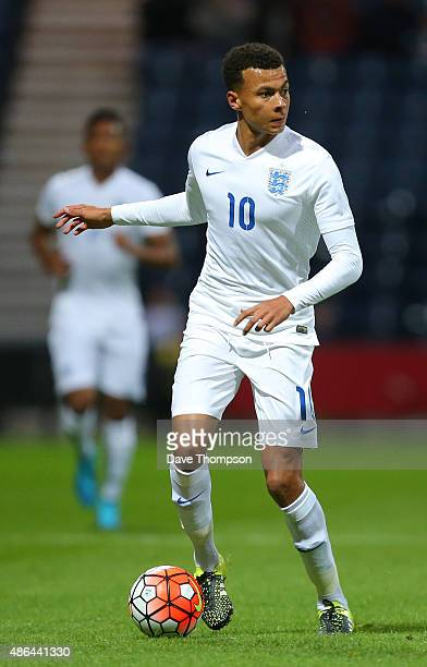 Dele Ali of England during the International friendly match between England U21 and USA U23 at Deepdale on September 3 2015 in Preston England