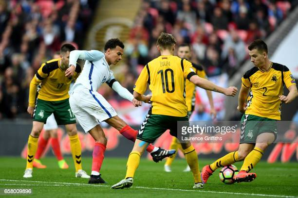 Dele Ali of England shoots on goal during the FIFA 2018 World Cup Qualifier between England and Lithuania at Wembley Stadium on March 26 2017 in...