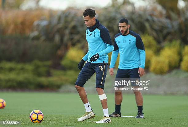 Dele Alli and Cameron CarterVickers of Tottenham during the Tottenham Hotspur training session at Tottenham Hotspur Training Centre on November 17...