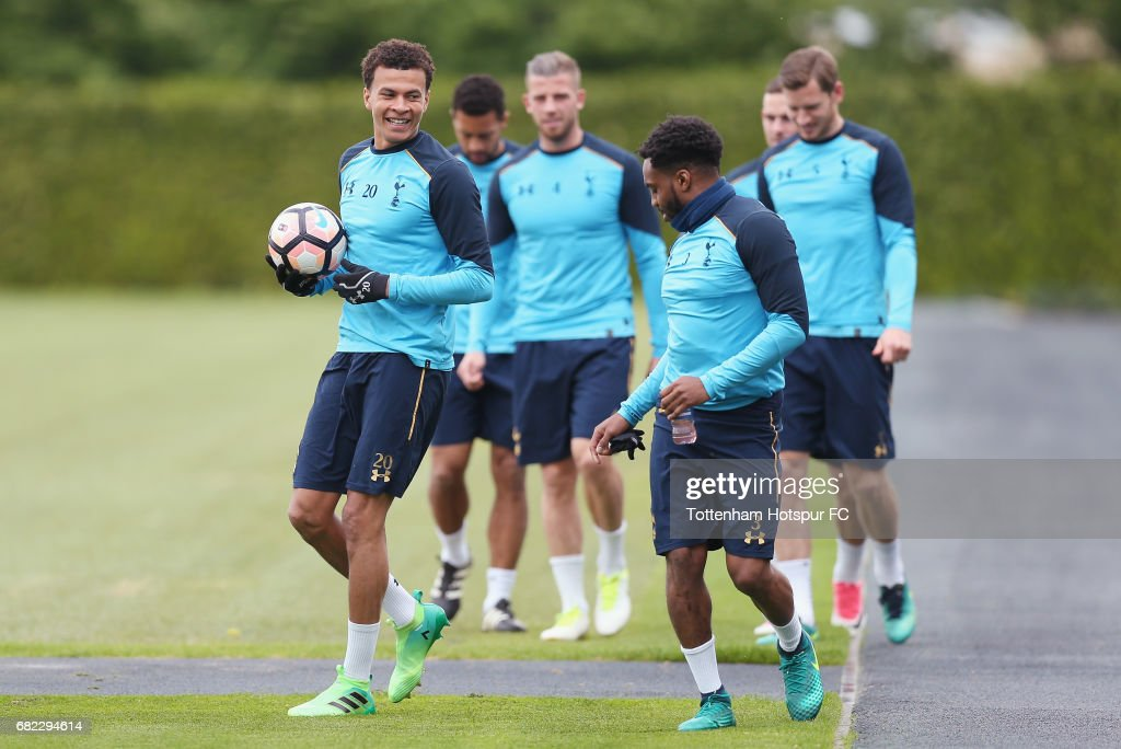 Dele Alli and Danny Rose of Tottenham during the Tottenham Hotspur training session at Tottenham Hotspur Training Centre on May 12, 2017 in Enfield, England.