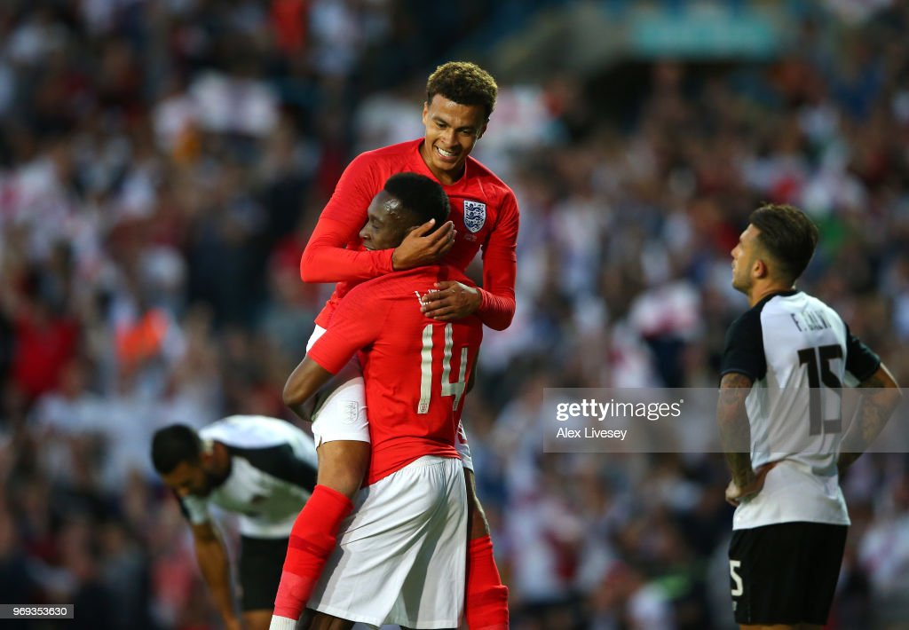 Dele Alli and Danny Welbeck of England celebrate after Danny Welbeck scored their sides second goal during the International friendly match between England and Costa Rica at Elland Road on June 7, 2018 in Leeds, England.