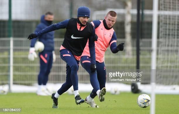 Dele Alli and Eric Dier of Tottenham Hotspur during the Tottenham Hotspur training session at Tottenham Hotspur Training Centre on February 09, 2021...