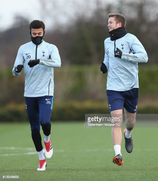 Dele Alli and Eric Dier of Tottenham Hotspur during the Tottenham Hotspur training session at Tottenham Hotspur Training Centre on February 2 2018 in...