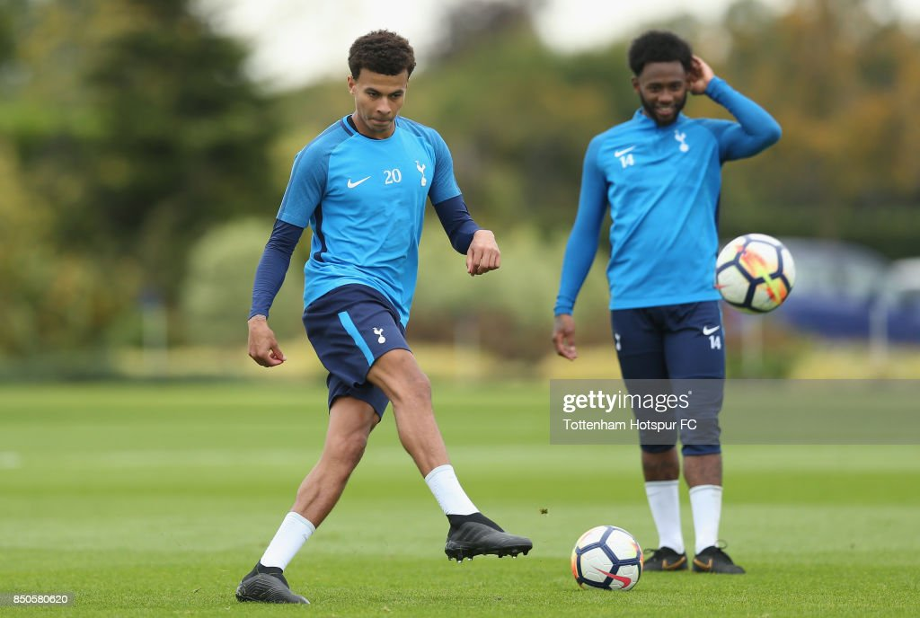 Dele Alli and Georges-Kevin Nkoudou of Tottenham during the Tottenham Hotspur training session at Tottenham Hotspur Training Centre on September 21, 2017 in Enfield, England.