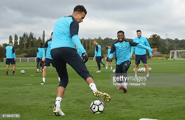 Dele Alli and Georges-Kévin N'Koudou of Tottenham during the Tottenham Hotspur training session at Tottenham Hotspur Training Centre on October 20,...