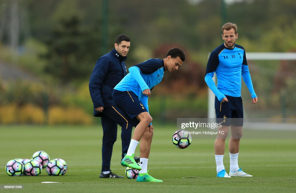 Dele Alli and Harry Kane of Tottenham Hotspur during a Tottenham Hotspur Training Session on April 13, 2017 in Enfield, England.