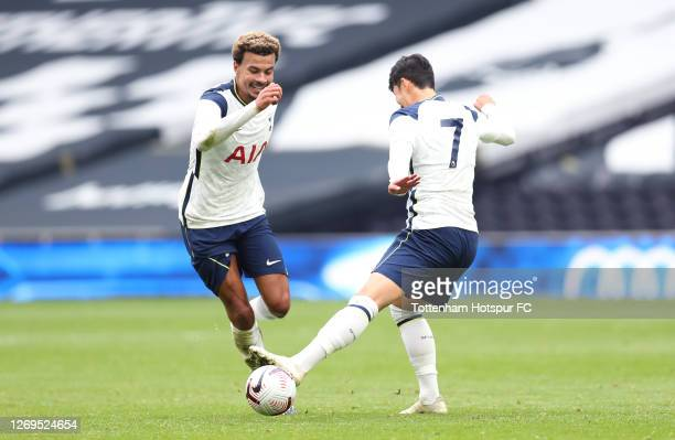 Dele Alli and HeungMin Son of Tottenham Hotspur after the final whistle during the preseason friendly match between Tottenham Hotspur and Birmingham...