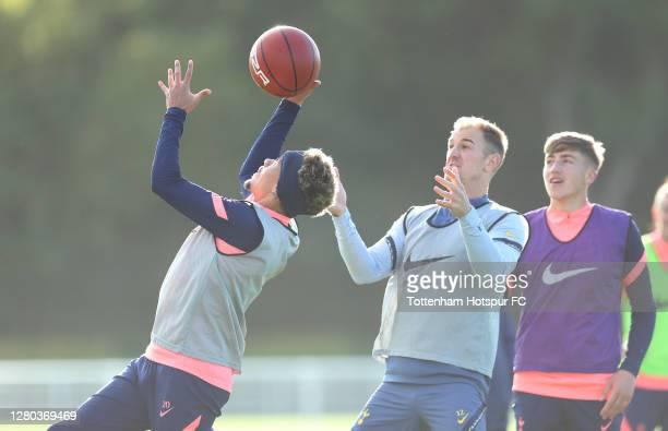 Dele Alli and Joe Hart of Tottenham Hotspur during the Tottenham Hotspur training session at Tottenham Hotspur Training Centre on October 15 2020 in...