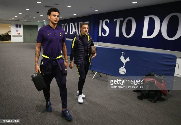 Dele Alli and Kieran Trippier of Tottenham Hotspur arrive prior to the UEFA Champions League group H match between Tottenham Hotspur and Real Madrid...