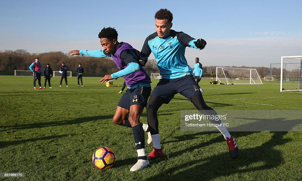 Dele Alli and Kyle Walker-Peters of Tottenham during the Tottenham Hotspur training session at Tottenham Hotspur Training Centre on January 18, 2017 in Enfield, England.