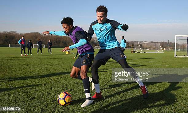 Dele Alli and Kyle WalkerPeters of Tottenham during the Tottenham Hotspur training session at Tottenham Hotspur Training Centre on January 18 2017 in...