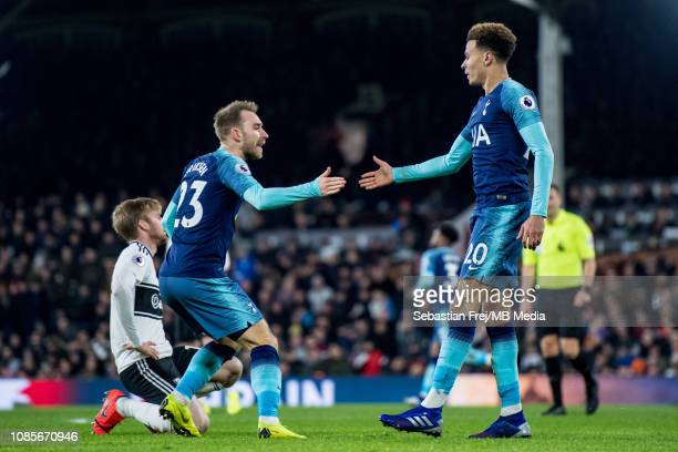 Dele Alli and of Tottenham Hotspur celebrate after scoring goal with he's team mate Christian Eriksen during the Premier League match between Fulham...
