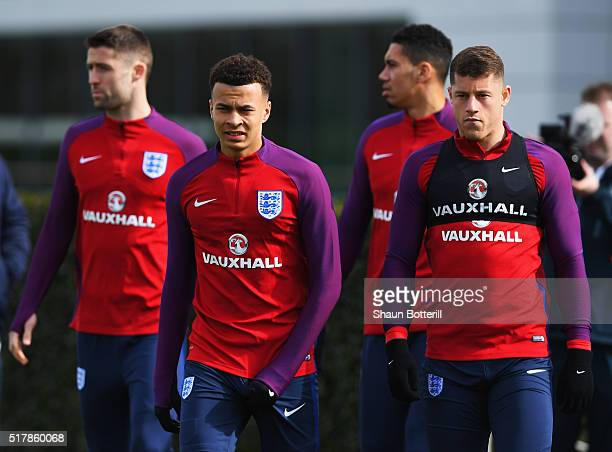 Dele Alli and Ross Barkley of England walk out for a training session prior to the International Friendly match against the Netherlands at the...
