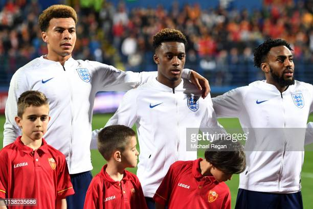 Dele Alli Callum HudsonOdoi and Danny Rose of England line up prior to the 2020 UEFA European Championships Group A qualifying match between...